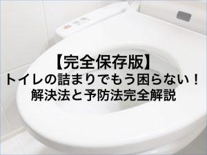 【完全保存版】トイレの詰まりでもう困らない!解決法と予防法完全解説