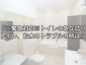 ※緊急対応※トイレの急な詰り トイレ、お水のトラブルの時は
