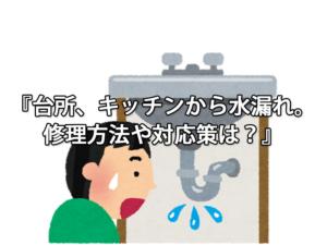 台所、キッチンから水漏れ。修理方法や対応策は?